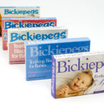 Bickiepegs Natural Teething Biscuits packaging through the years