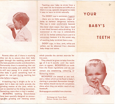 Bickiepegs folding leaflet from Welwyn Garden City C 1930