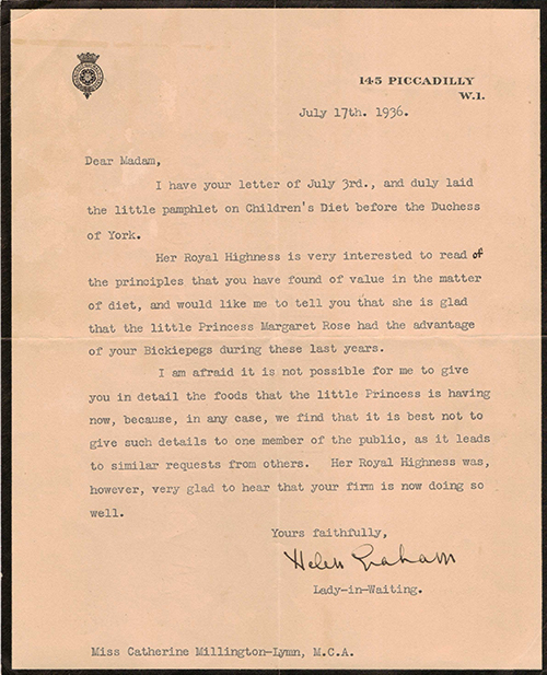 Royal Letter 13 July 1936
