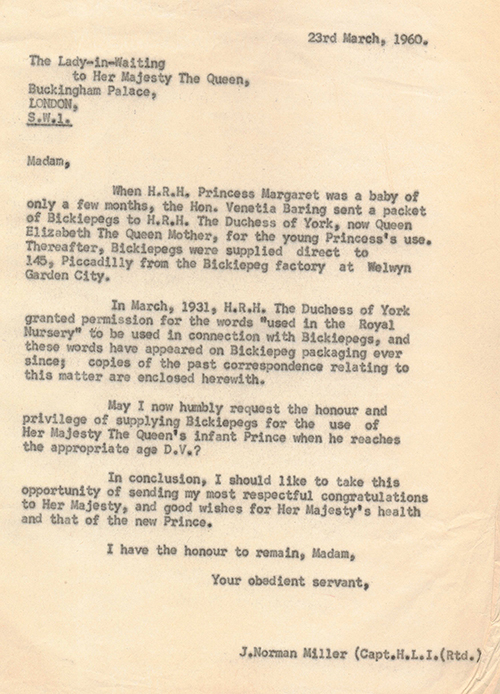 Letter from the Queen's Lady in Waiting 23rd March 1960